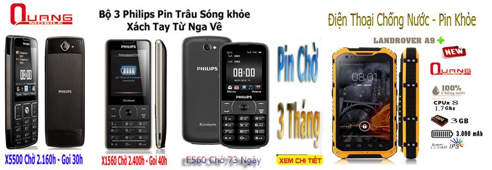 Điện thoại philips E560 dùng mãi ko hêt pin xách tay Nga