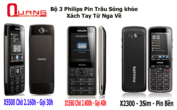 Điện thoại philips x5500, pin cực khủng,sạc 1lần chờ 3tháng,2sim,3sim độc lạ